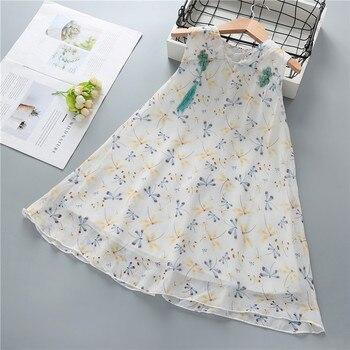 цена на Baby Girls Cheongsam Dress Summer 2020 New Girl Retro Cheongsam Chinese Japanese Style Dresses 2 3 4 5 6 7 8 Years Kids Clothing