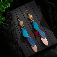 цена на 2020 Colorful Long Feather Vintage Bohemian Fringed Earrings Gold Alloy Chain Tassel Earrings Boho Indian Jewelry