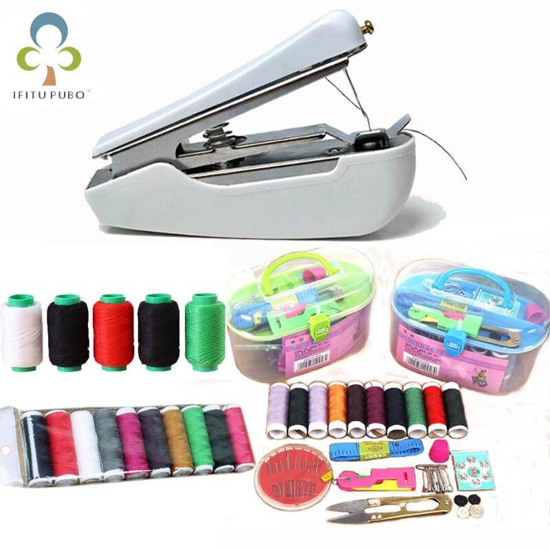 Портативная ручная мини-швейная машина и швейная резьба, простой в использовании швейный инструмент для ткани, ручной стиль, быстрая работа...