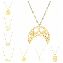 Fashion 3 Colors Gold & Rose Gold & Silver Plated Geometric Crescent Moon Star Sun Pendant Necklace Female Jewelry Necklace(China)