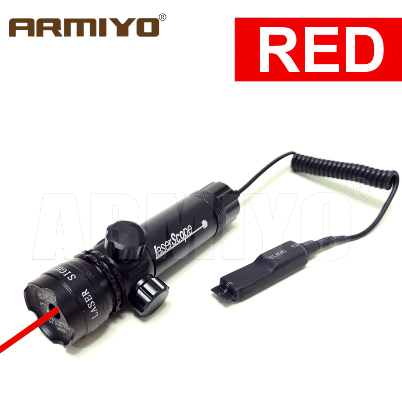 Armiyo 5mW 532nm Green 835-655nm Red Dot Adjustable Laser Sight 20mm Rail Barrel Mount Cap Scope Remote Pressure Switch Hunting