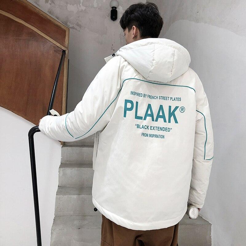 Зимняя куртка, Мужская теплая Толстая парка, Мужская модная куртка с капюшоном и буквенным принтом, Мужская Уличная хлопковая куртка