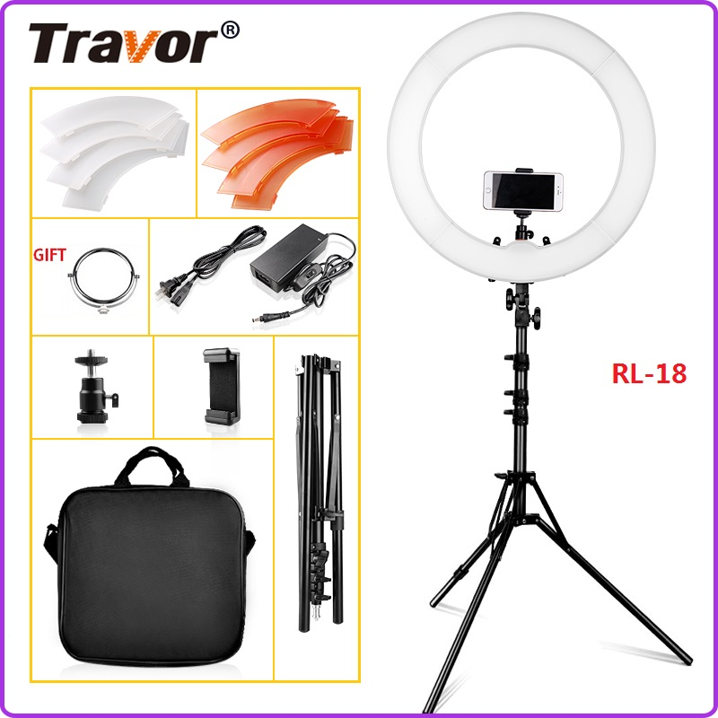 TRAVOR Ring light 18Inch With a Tripod LED Ring Lamp Dimmable 5500K Photo light ring for