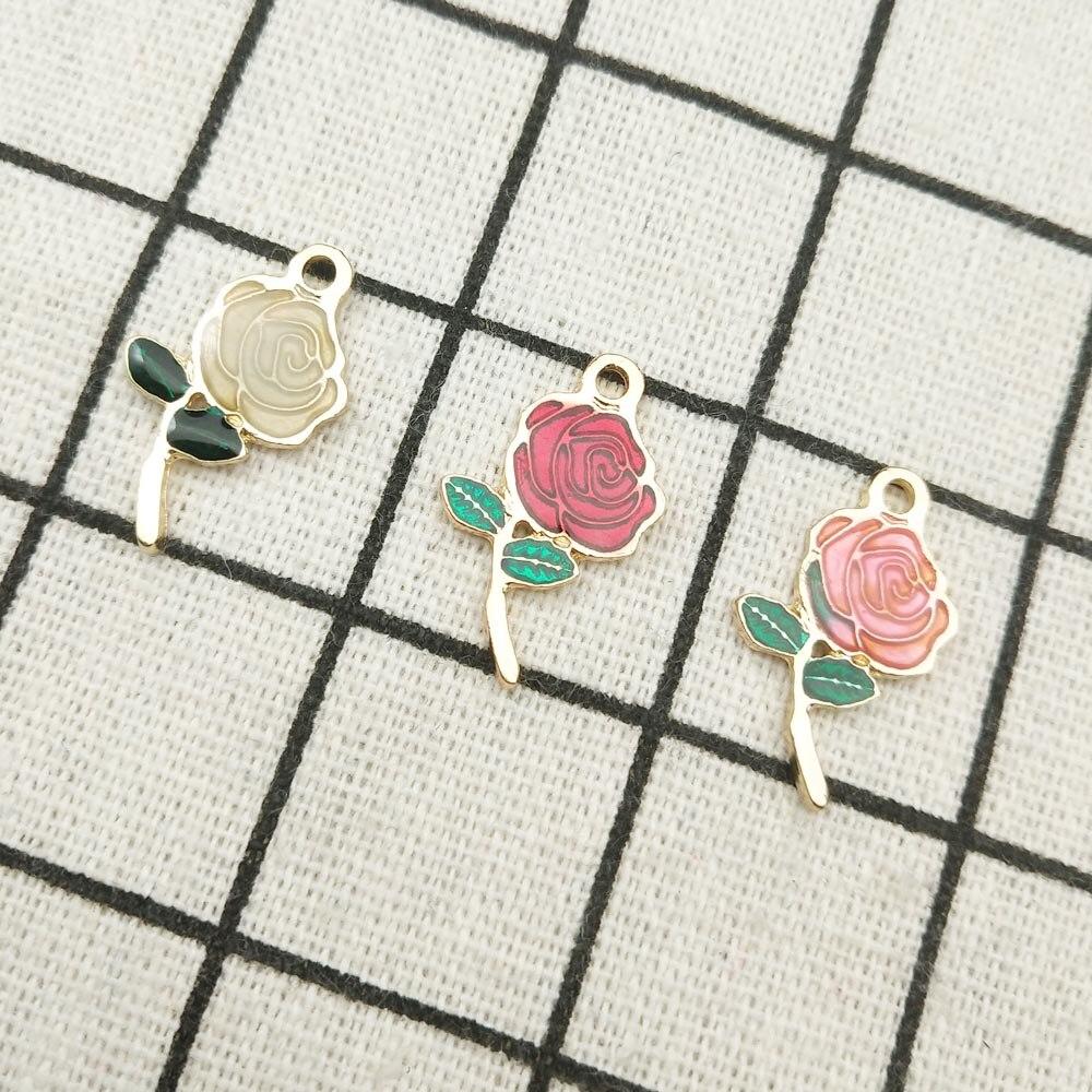 1 Alloy Rose Flower with enamel Long Golden Stemmed Rose Just for Her Rose Pendant X004 Mother Nature Charm