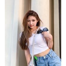 2021 New Lady T-Shirt Good Quality Slim Fit Woman Short Tee Irregular Collar Special Design