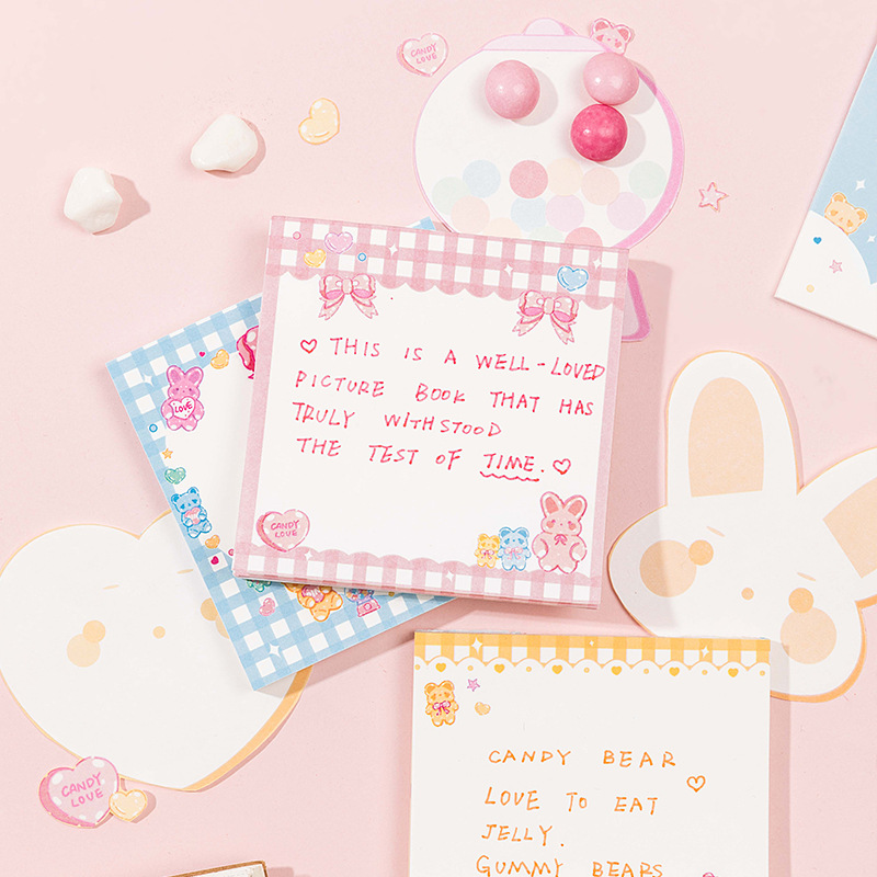 Mohamm 60 Pcs/lot Cartoon Rabbit Bow Notepad Memo Pad School Supplies Paper Stationary Office Accessories