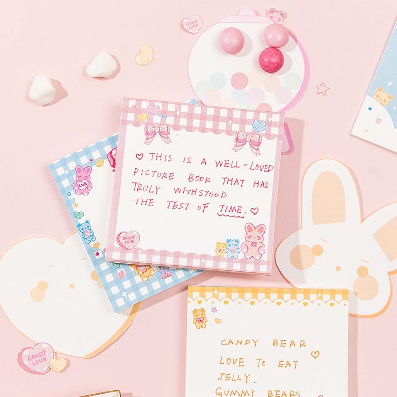 Mohamm 60 Pcs/lot Cartoon Rabbit Bow Notepad Memo Pad School Supplies Paper Stationary Office Accessories