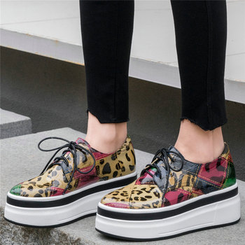 Fashion Sneakers Women Genuine Leather Wedges High Heel Vulcanized Shoes Female Round Toe Platform Pumps Shoes 2020 Casual Shoes