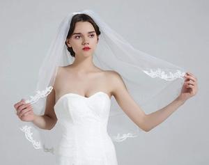 """Image 2 - Velo de novia con peine, 1 nivel, borde de encaje, longitud de la yema del dedo, 36 """", accesorios de novia, velo de marfil"""