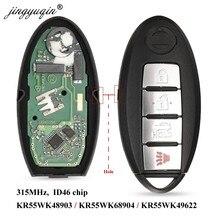 Jingyuqin remoto inteligente para NISSAN Altima Teana Maxima MURANO para Infiniti G25 G35 G37 Q60 FX35 FX37 QX70 FX50 315Mhz ID46