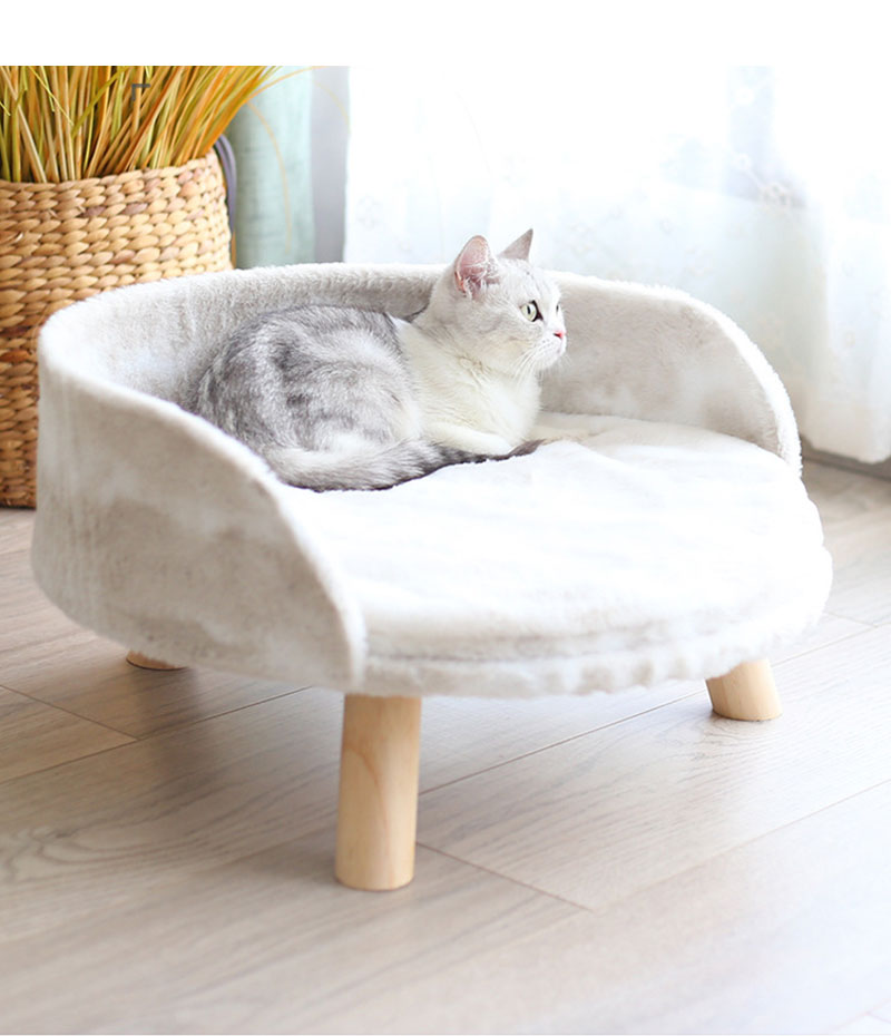 Coral Fleece Winter Warm Cat Sofa Mattress Removable Puppy Sleeper Sofa Cat Nest Kitten Mattress Pet Furniture image
