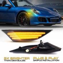 2Pcs Dynamische LED Seite Marker Licht Pfeil Blinker Blinker Anzeige Lampen Für Porsche 991 911 982 981 Boxster cayman 718