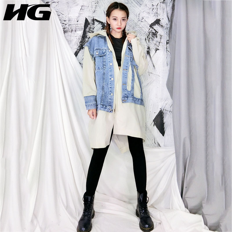 HG Autumn Winter Coat Women Korean Style   Trench   Coat Denim Stitching Fake Two Pieces Hooded Windbreaker Plus Size Tops XJ1885