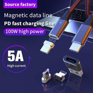 Магнитный кабель PD Type C-Type C, 100 Вт, 5А, кабель для быстрой зарядки для MacBook Pro, Huawei p40, iphone11, Samsung, кабель Micro USB