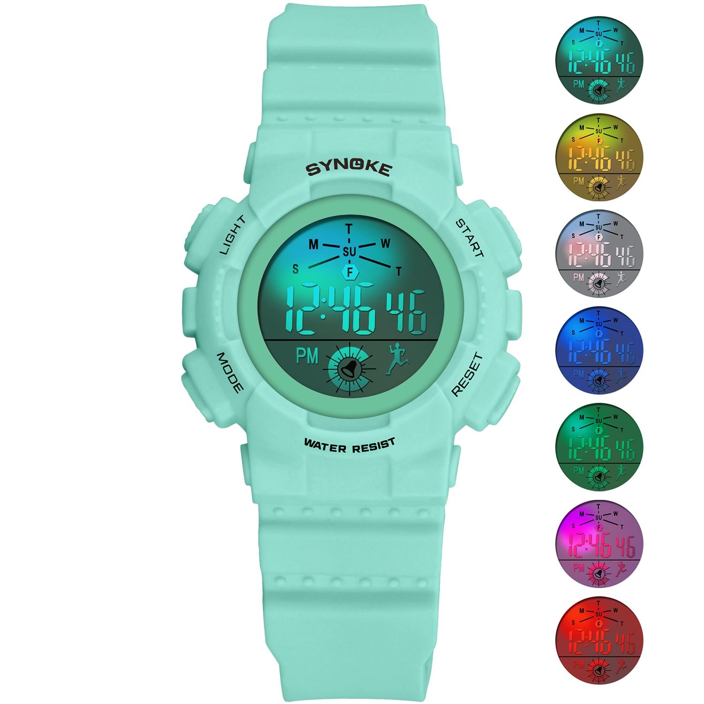 SYNOKE Children% 27s Часы Мода Цветной LED Повседневный Водонепроницаемый Студенты Часы Дети Женщины Цифровые Часы Relgio Мальчики Девочки Подарки