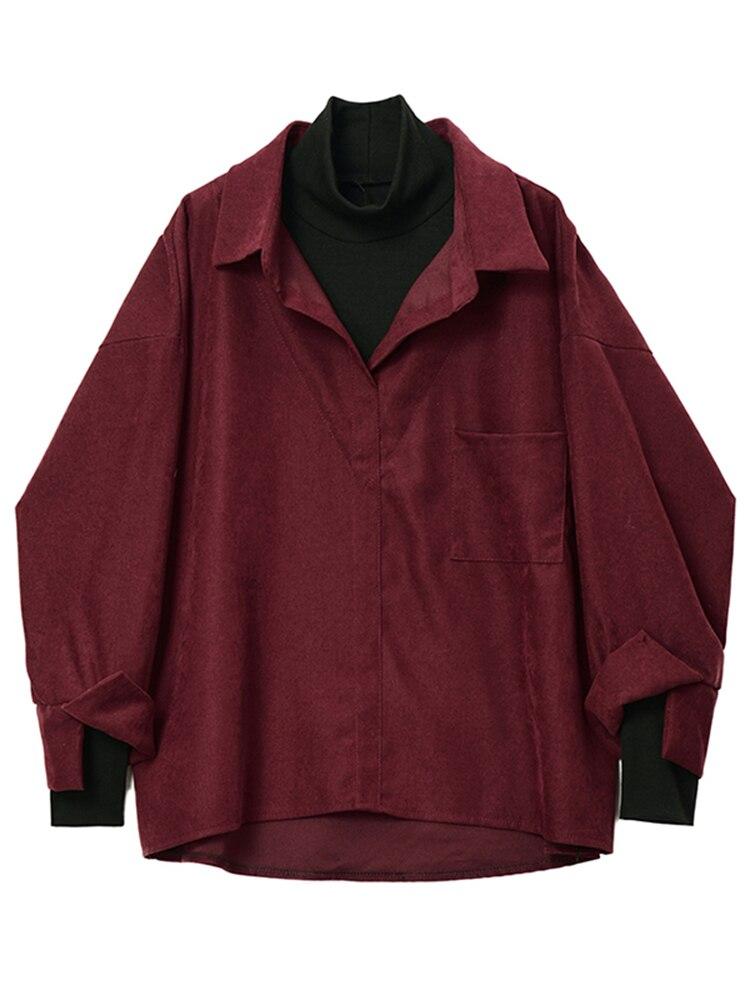 Long-Sleeve Blouse EAM Women Fit-Shirt Spring Fashion Tide Autumn Red Wine Lapel Lapel