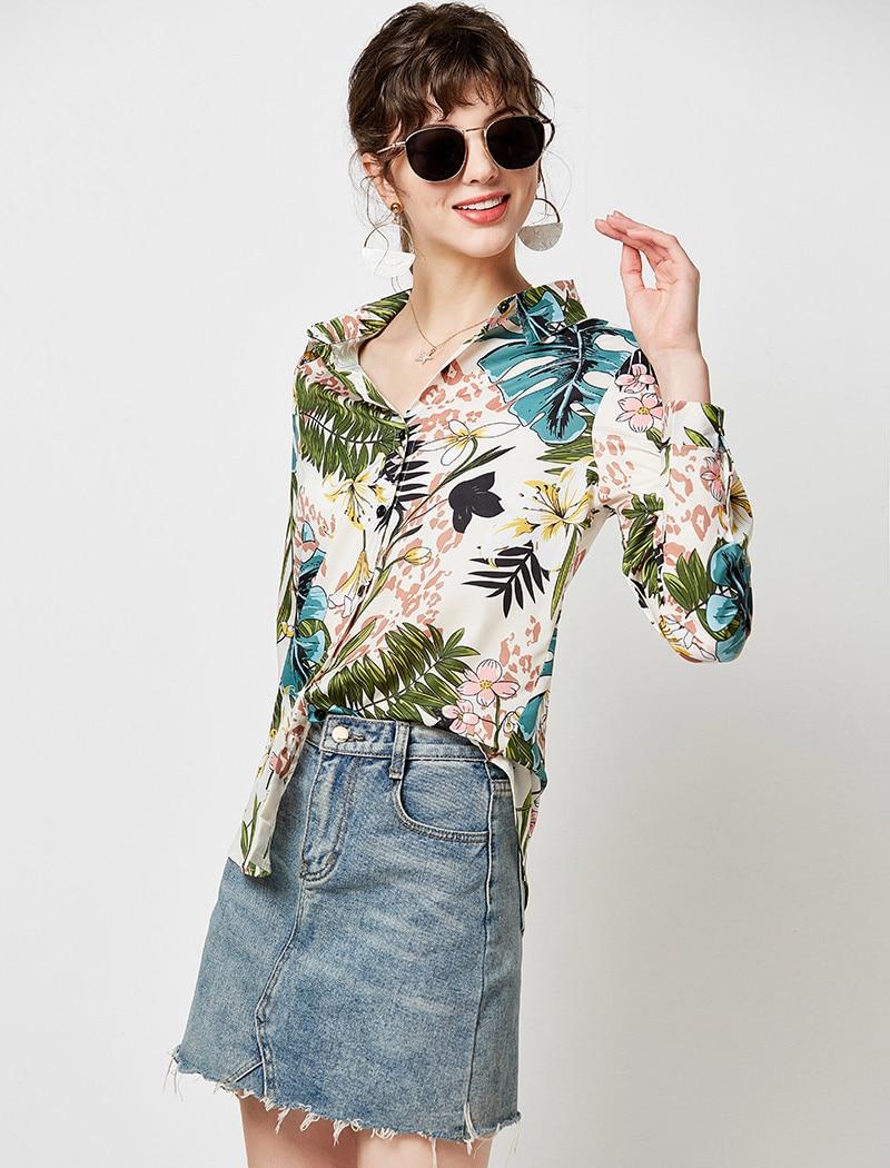 Women Blouses 19 Vintage Floral Print Long Sleeve Elegant Blouse Turn Down Collar Casual Loose Office Shirt Plus Size Blusas 9