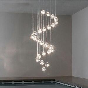 Image 2 - 天井のシャンデリアキッチンロング階段照明モールヴィラホテルランプロフトクリスタルボールledシャンデリア