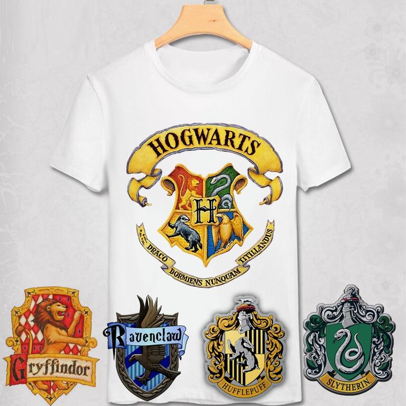 HOGWART School Crests Logo T Shirt Hogwarts Gryffindor Ravenclaw Hufflepuff Slytherin Magic Schools Badge Art Potter Tee Shirt