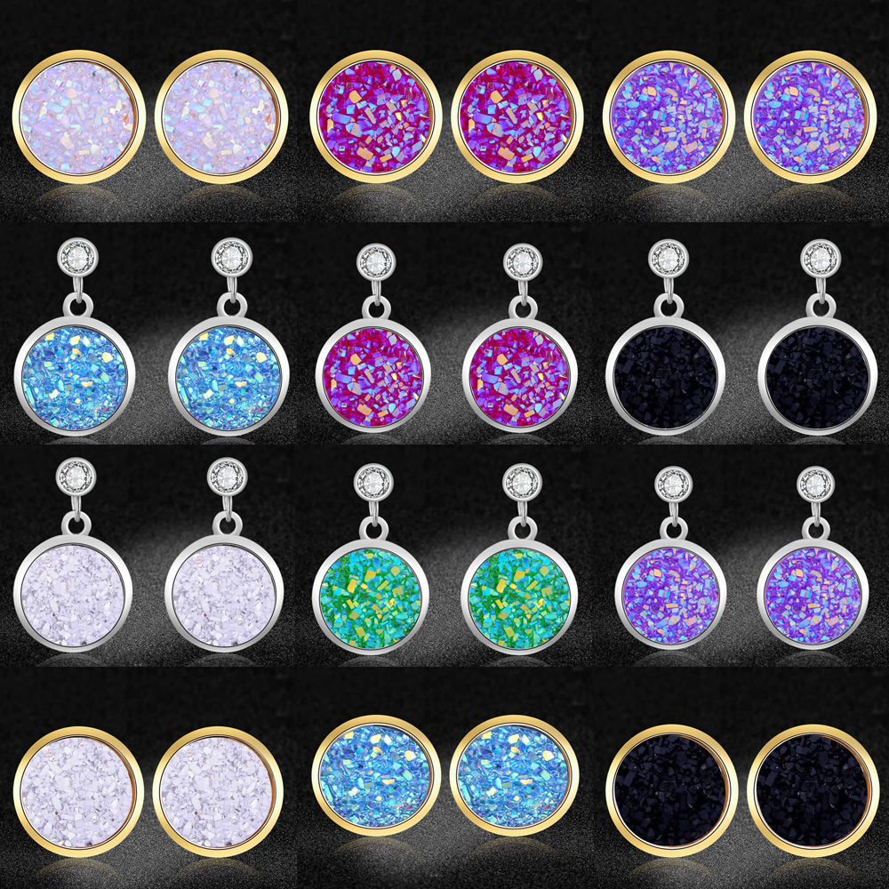 AAAAA Quality 100% Stainless Steel Shinning Star Resin Stud Earring for Women Party Ear Studs Jewelry Wholesale Dropshipping