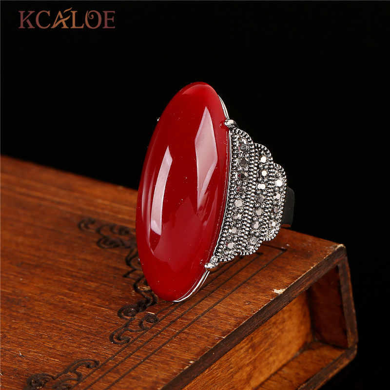 KCALOE Antique Big Red ONYX หินแหวนสำหรับเครื่องประดับ Retro ผู้หญิงสีเงิน Marcasite แหวน Bague เงิน