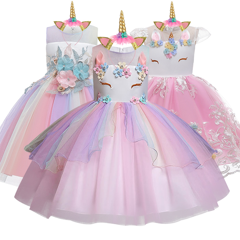 Flower Girl's Birthday Party Unicorn Dress Girl's School Performanc Party Girl Wedding Banquet Unicorn Bridesmaid Colorful Dress