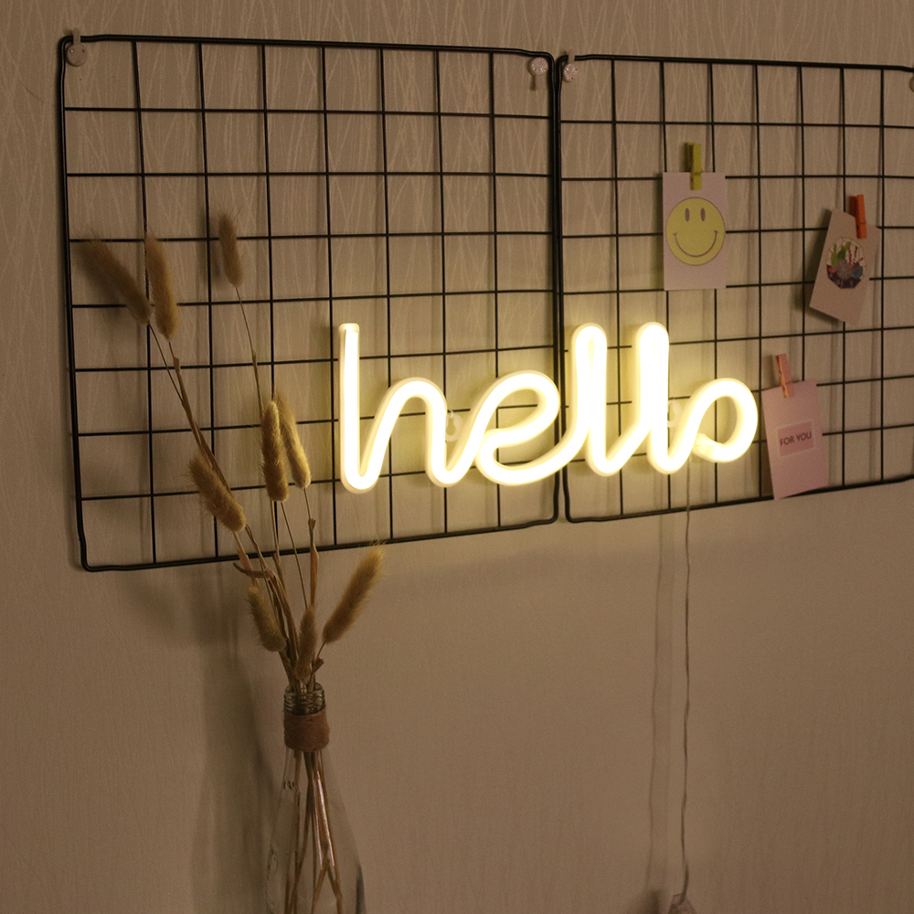 LED Neon Light Hello Toys Creative Neon Sign Light Neon Light USB Battery Kids Photography Birhthday Gifts Wedding Decor
