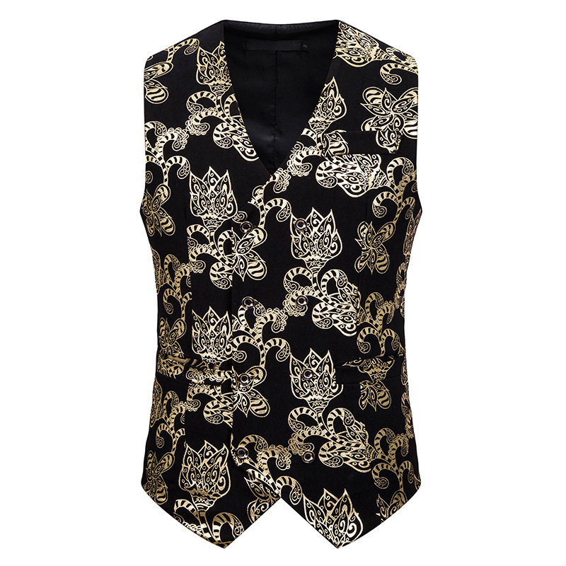 Mens Floral Bronzing Print Suit Vest Men Slim Fit Double Breasted Dress Vest Waistcoat Men Wedding Tuxedo Vests Chaleco Hombre