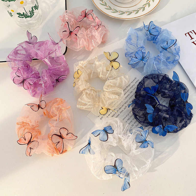 17KM papillon chouchous pour filles femmes accessoires de cheveux floraux treillis élastique bandes de cheveux gomme cheveux cravate élastique pour queue de cheval
