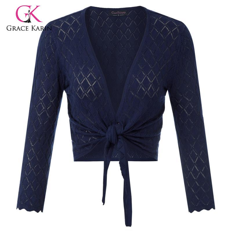 Grace Karin Women's Cropped Cardigan Coat Knitted Shrug 3/4 Sleeve Tie Front Knitwear Ladies Shrugs 2020 New Arrival Coprispalle