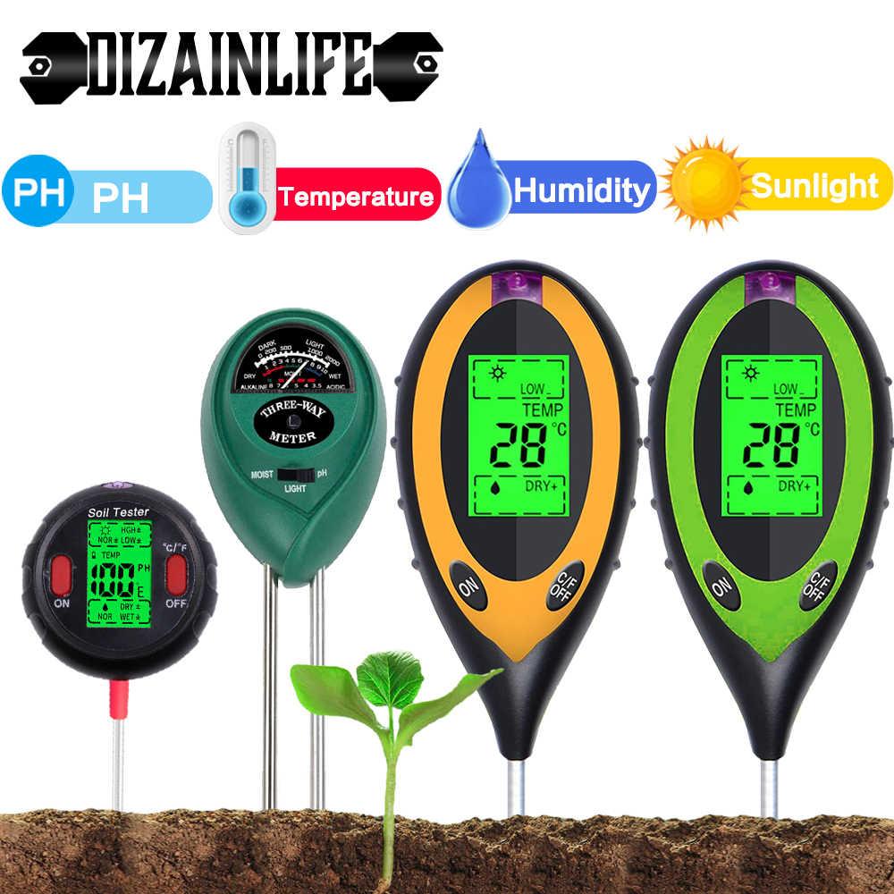 5 в 1 набор цифровых измерителей Ph почвы, тестер влажности, интенсивности солнечного света, измерения температуры, PH-монитор, детектор для садовых растений
