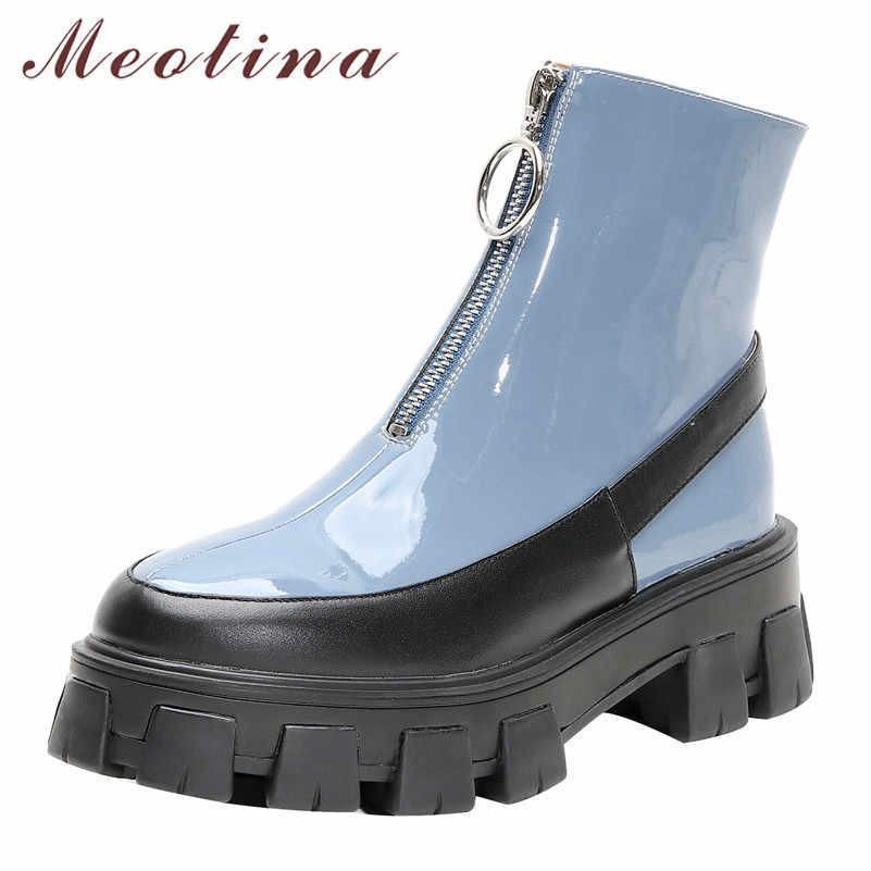 Meotina Winter Ankle Boots Women Genuine Leather Platform Chunky Heel Short Boots Patent Leather Zipper Shoes Lady Autumn 34-39