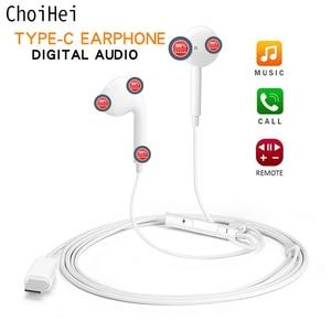 Image 1 - Тип C наушники с микрофоном проводные USB C Цифровые наушники DAC In Ear USB C гарнитуры для Pixel 2 3 XL Samsung Huawei Xiaomi HTC