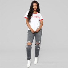 Spring and Autumn Mid Waist Straight Jeans Women Streetwear Distressed Hollow Out Hole Ripped Femme