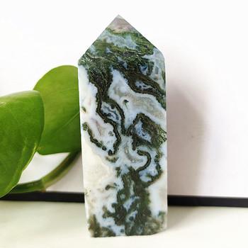 Naturalny agat mech wieża dekoracji domu feng Shui szpic magicznej różdżki zielony agat wody trawy punkt tanie i dobre opinie EBET CN (pochodzenie) People CHINA Kamień wand crystal point