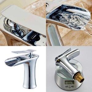 Image 5 - Смеситель для ванной комнаты из античной бронзы с водопадом, смеситель для ванной комнаты с черной кистью для горячей и холодной воды, никелевый смеситель для воды ELF100
