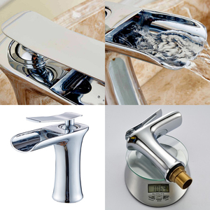 Image 5 - Antique Bronze Waterfall Bathroom Faucet Bathroom Basin Mixer Tap with Hot and Cold Water Black Brush Nickel Water Mixer ELF100