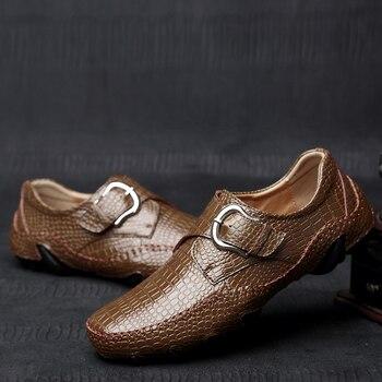 Men Loafers Spring and Autumn Men Casual Shoes Genuine Leather Driving Shoes Crocodile Texture Men's Flats Shoes Plus Size
