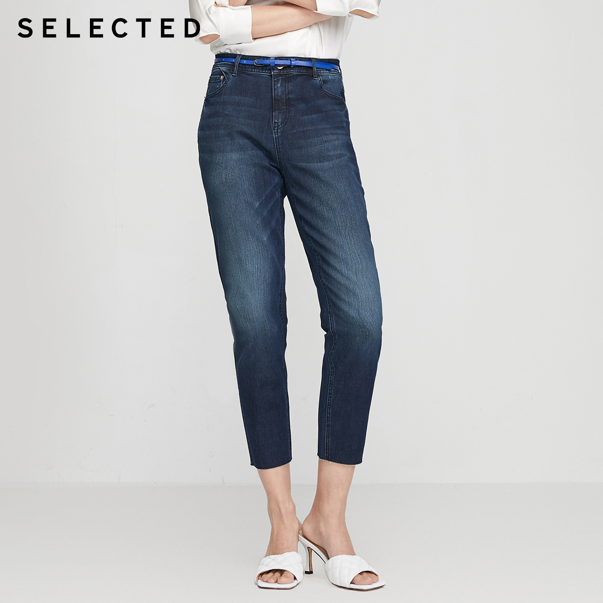 SELECTED Women's Cotton Denim Pants Mid-rise Tapered Crop Jeans R|420232523