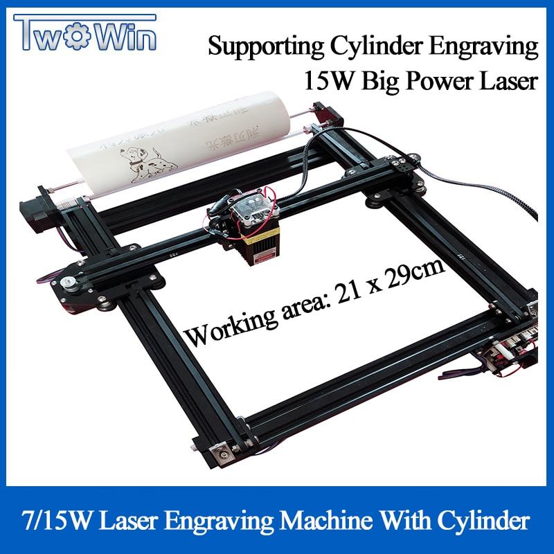 7W/10W/15W Laser Engraving Machine 21*29cm DIY Plotter Printing Logo Cutting Machine With A-axis Cylinder Engraving CAD Cutting