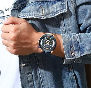 Image 4 - CURREN Relógio Mens Relógios Top Marca de Luxo Cronógrafo Dos Homens Do Esporte Dos Homens Casuais de Couro À Prova D Água Relógio de Quartzo Relogio masculino
