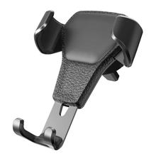 Suporte do telefone do carro suporte de ventilação de ar clipe de montagem universal suporte de telefone de carro portátil material de couro imitação durável