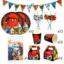 Parti malzemeleri için 50 adet 12 çocuk yeni Ninjagoing tema doğum günü partisi dekorasyon sofra seti, plaka + bardak + saman + bayrak + masa örtüsü