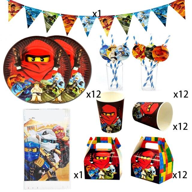 Party Supplies 50pcs สำหรับ 12 เด็กใหม่ Ninjagoing Birthday PARTY ตกแต่งชุด, จาน + ถ้วย + ฟาง + ธง + tablecover