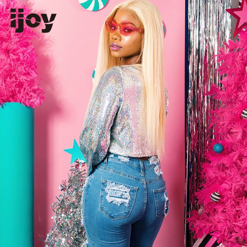Human Hair Wigs 13×4 Lace Front 8''-24'' #613 Platinum Blonde Straight Wigs 150% Denisty Brazilian Human Hair Non-Remy Wig IJOY