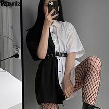 Rapwriter Gothic Panelled Turn Down Neck Women's shirt Long Blouse Women 2020 Si