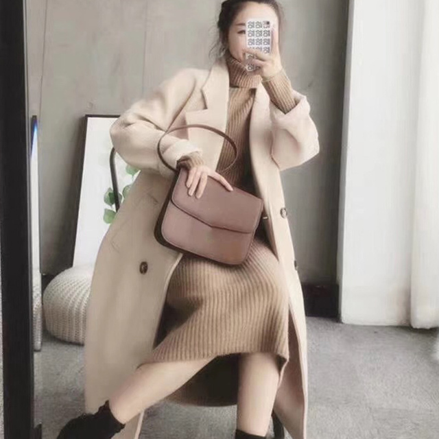 Turtleneck knitted sweater dress ladies fall winter elastic cashmere bottoming shirt midlength over the knee thick sweater dress 2