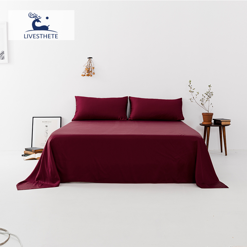 Liv-Esthete New 100% Mulberry Silk Wine Red Flat Sheet Luxury Silky Bed Linen White Solid Pillowcase Double Queen King
