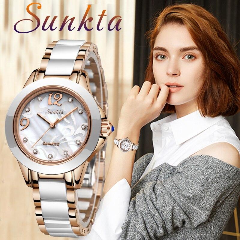 SUNKTA Fashion Simple Women Watches Ladies Bracelet Watch  Ceramics Quartz Wristwatches Clock Waterproof Watch Montre Femme+Box