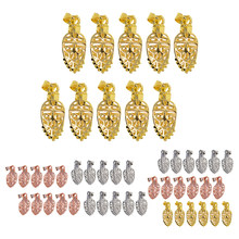 10 Piece Brass Filigree Necklace Pendant Dangle Charms Pinch Bails Clasp Clip Jewelry Making Findings Connectors(China)